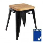Metal Low  Stool Timber Seat